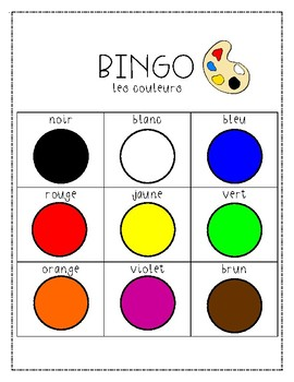 Bingo: les couleurs / / / Bingo: colours in French (CORE FRENCH)