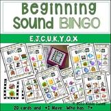 Beginning Sound -BINGO-letters E, C, J, U, K, Y, Q and X