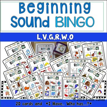 Beginning Sounds -BINGO- letters V, L, W, O, R and G