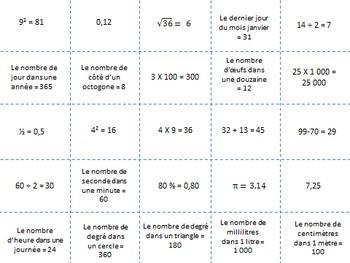 Bingo mathématiques en français pour début ou fin d'année (version française)