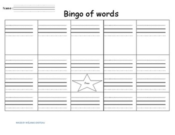 Bingo of words