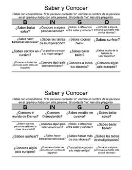 Bingo para Clase de Español: Saber y Conocer