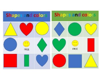 Bingo shapes and colors