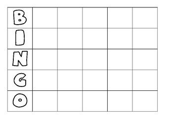 Bingo template & list of adjectives