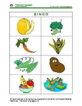 Bingo: vegetables and fruits