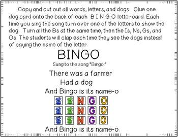 Bingo was his name-o (A Pocket Chart Activity)