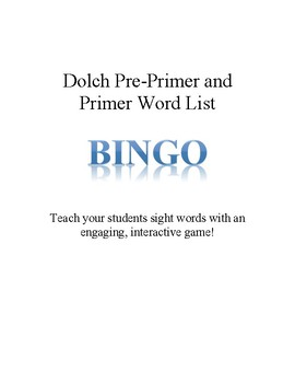 Bingo with Dolch Pre-Primer and Primer Words