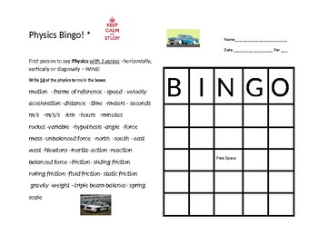 Bingo with Physics Vocabulary
