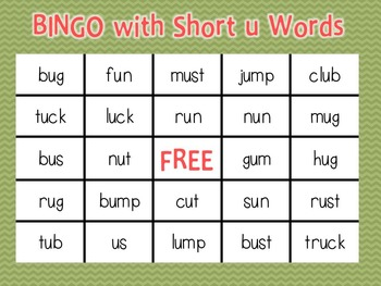 Bingo with Short u Words