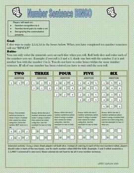 Bingo with a Twist! -Number Sentence Bingo 1-6