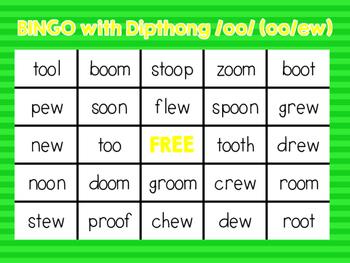 Bingo with dipthong /oo/ spelled oo and ew