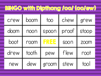 Bingo with dipthong /oo/ spelled oo and ew