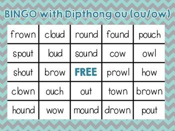"""Bingo with dipthong """"ou"""" (ou, ow)"""