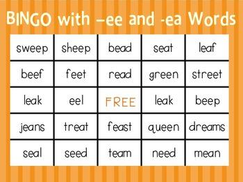 Bingo with -ee and -ea Words