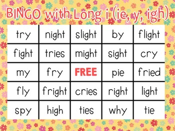 Bingo with long i (ie, y, igh)