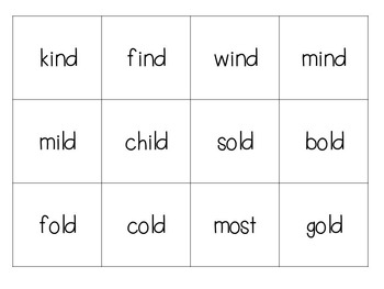Bingo with long vowels o and i