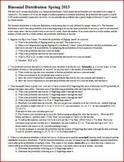 Binomial Distribution Spring 2013 (Editable)