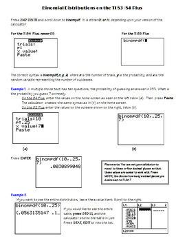 AP Statistics Binomial Distribution TI 83 84 Plus Worksheet