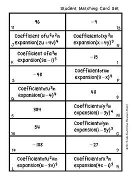 Binomial Expansion Coefficients Matching Card Set