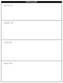 Binomial Expansion Guided Notes and HW