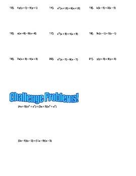 Binomial GCF Worksheet