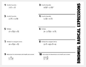 Binomial Radical Expressions (Algebra 2 Foldable)