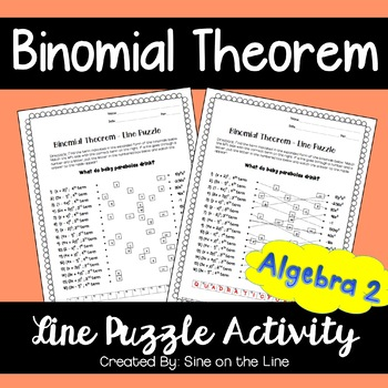 Binomial Theorem: Line Puzzle Activity by Sine on the Line | TpT
