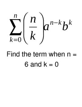 Binomial Theorem Practice Activity / Warm-Up