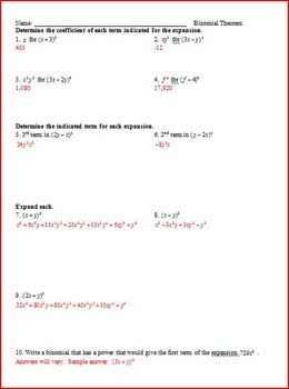 Binomial Thm, Factor Thm, Remainder Thm, Solving Polynomials WS