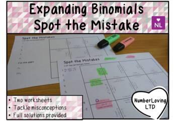 Binomials Expanding Brackets (Spot the Mistake)