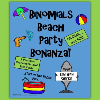 Binomials FOIL Polynomials Differentiation Task Cards Summer Beach Party
