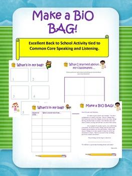 Bio Bag:  Back to school/ Common Core Speaking/ Listening