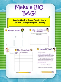 Bio Bag:  Back to school/ Common Core Speaking/ Listening
