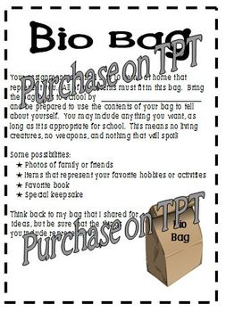 Bio Bag Project-A Getting to Know You Speaking, Listening, and Writing Activity
