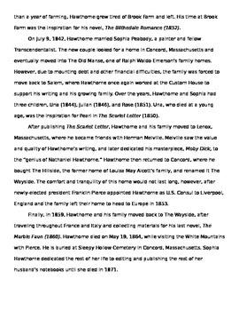 Nathaniel Hawthorne: Biography
