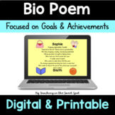 Bio Poem Back to School Poetry Writing and Goal Setting