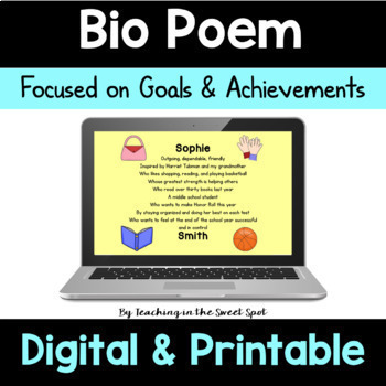 New Years Activity 2019 Bio Poem Poetry Writing and Goal Setting