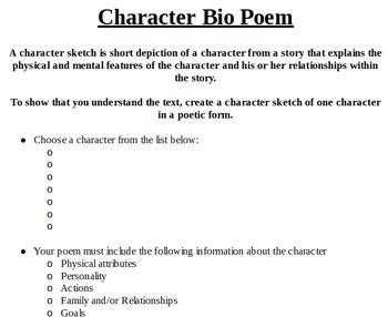 Bio Poem Character Sketch