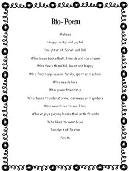 Bio-Poem Graphic Organizer