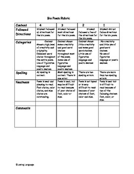 Bio -Poem Made Simple- Lesson Plan, Activity & Rubric Included