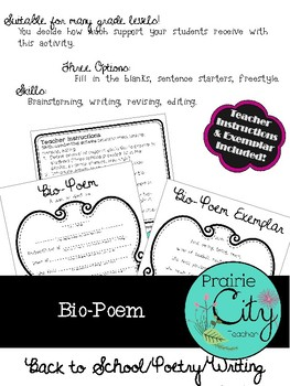 Bio-Poem Poetry Activity
