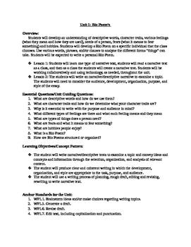 Bio Poem Unit Plan