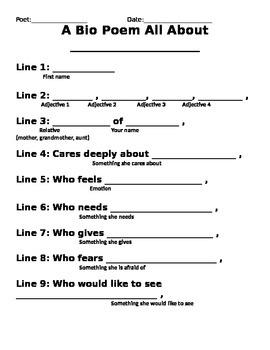 Bio Poem Template | Bio Poem Writing Template