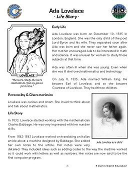 Bio Sphere - Ada Lovelace Resources - Differentiated Leveled Reading & Fun