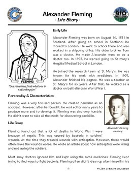 Bio Sphere - Alexander Fleming Resources - Differentiated Leveled Reading & Fun