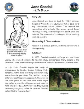 Bio Sphere - Jane Goodall - Differentiated Reading, Slides & Activities