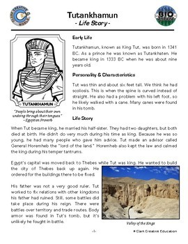 Bio Sphere - King Tut Resources - Differentiated Leveled Activities