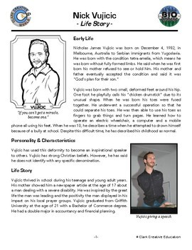 Bio Sphere - Nick Vujicic - Differentiated Reading, Slides & Activities