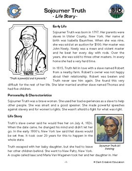 Bio Sphere - Sojourner Truth - Differentiated Reading, Slides & Activities