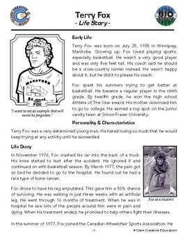 Bio Sphere - Terry Fox - Differentiated Reading, Slides & Activities